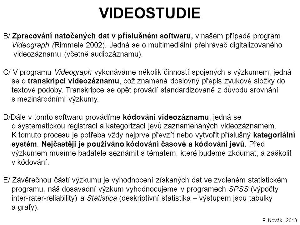111 B/ Zpracování natočených dat v příslušném softwaru, v našem případě program Videograph (Rimmele 2002).