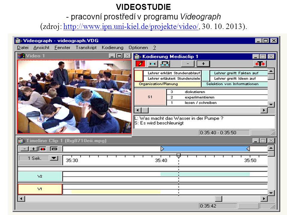 112 VIDEOSTUDIE - pracovní prostředí v programu Videograph ( zdroj: http://www.ipn.uni-kiel.de/projekte/video/, 30.