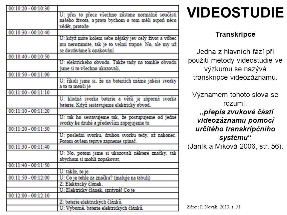 113 VIDEOSTUDIE Transkripce Jedna z hlavních fází při použití metody videostudie ve výzkumu se nazývá transkripce videozáznamu.