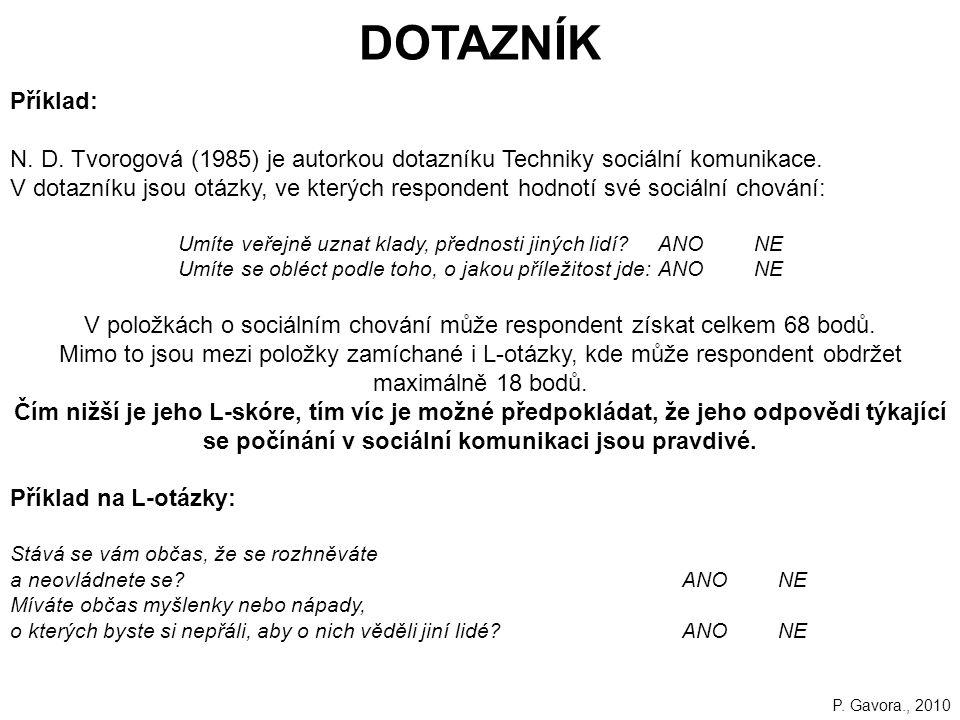 146 DOTAZNÍK Příklad: N.D. Tvorogová (1985) je autorkou dotazníku Techniky sociální komunikace.