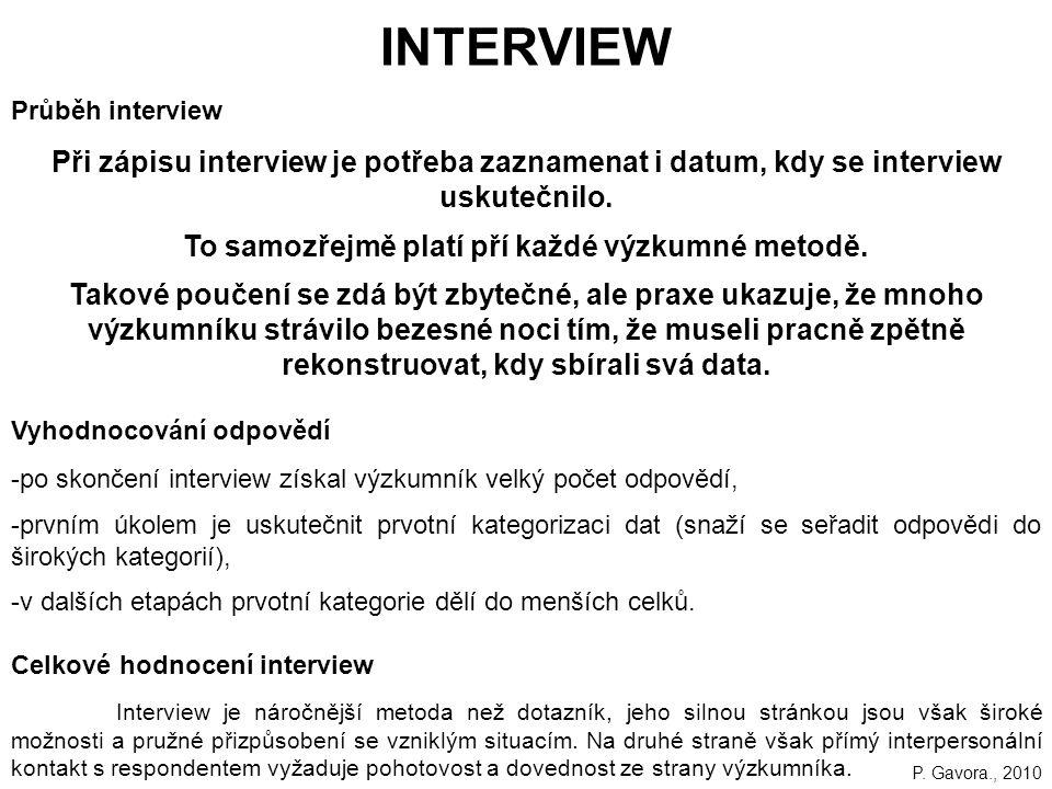 160 Průběh interview Při zápisu interview je potřeba zaznamenat i datum, kdy se interview uskutečnilo.