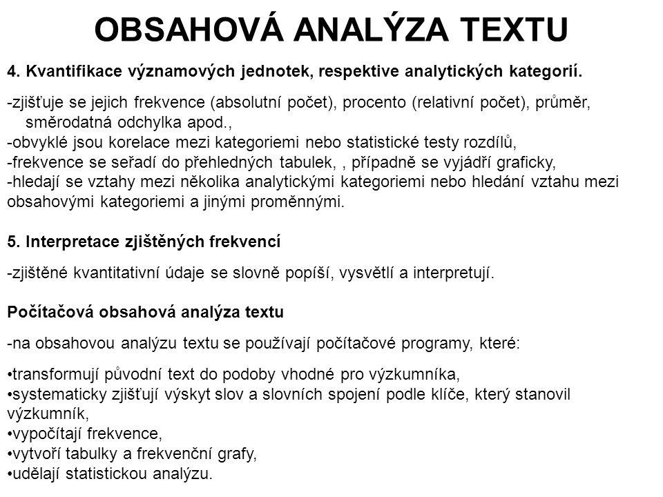 175 OBSAHOVÁ ANALÝZA TEXTU 4.Kvantifikace významových jednotek, respektive analytických kategorií.