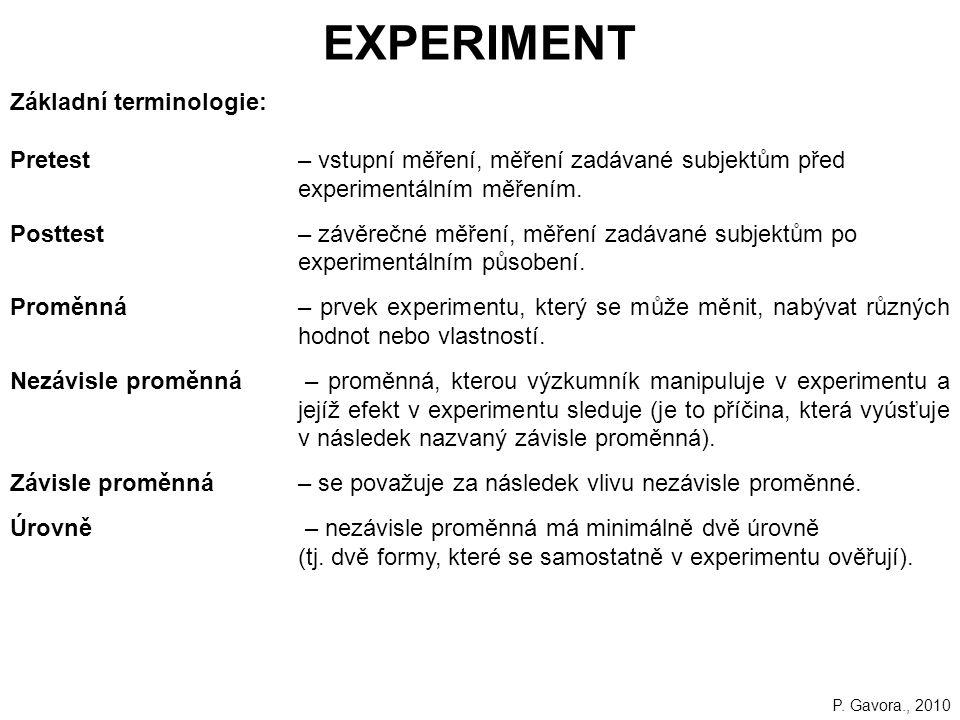 181 EXPERIMENT Základní terminologie: Pretest– vstupní měření, měření zadávané subjektům před experimentálním měřením.