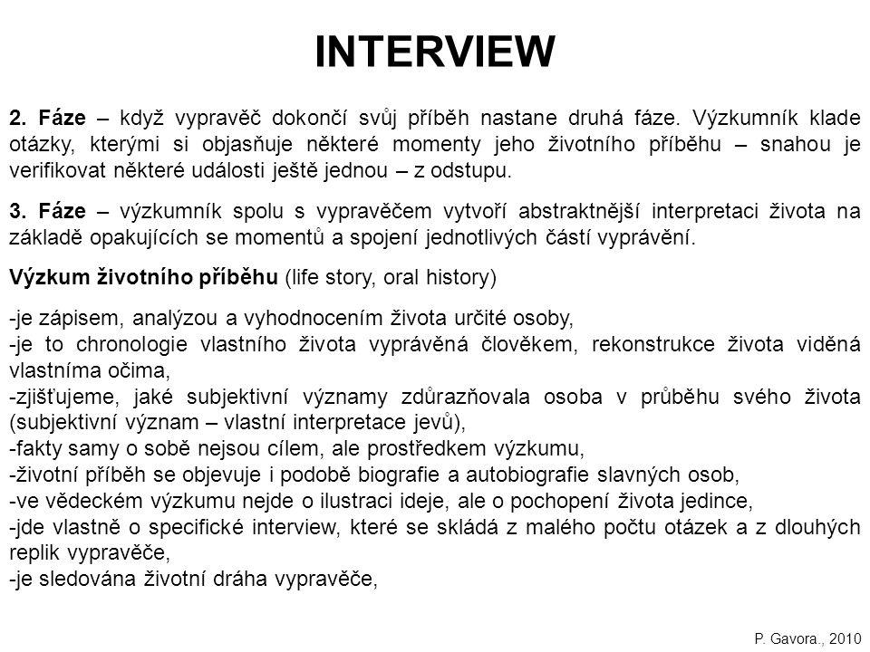 218 INTERVIEW 2.Fáze – když vypravěč dokončí svůj příběh nastane druhá fáze.