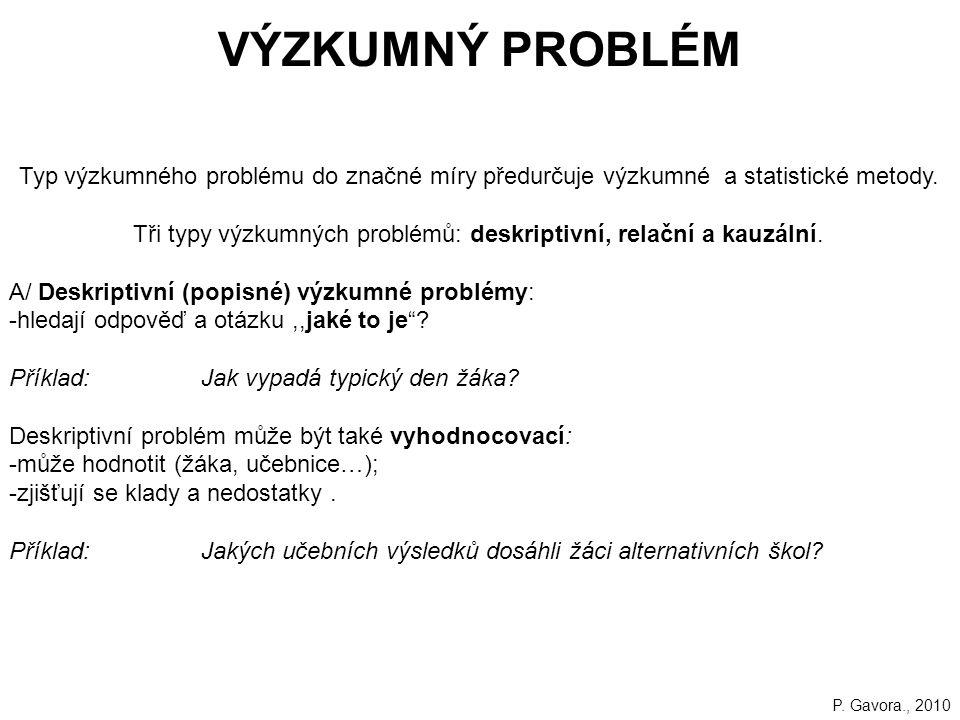 32 VÝZKUMNÝ PROBLÉM Typ výzkumného problému do značné míry předurčuje výzkumné a statistické metody.