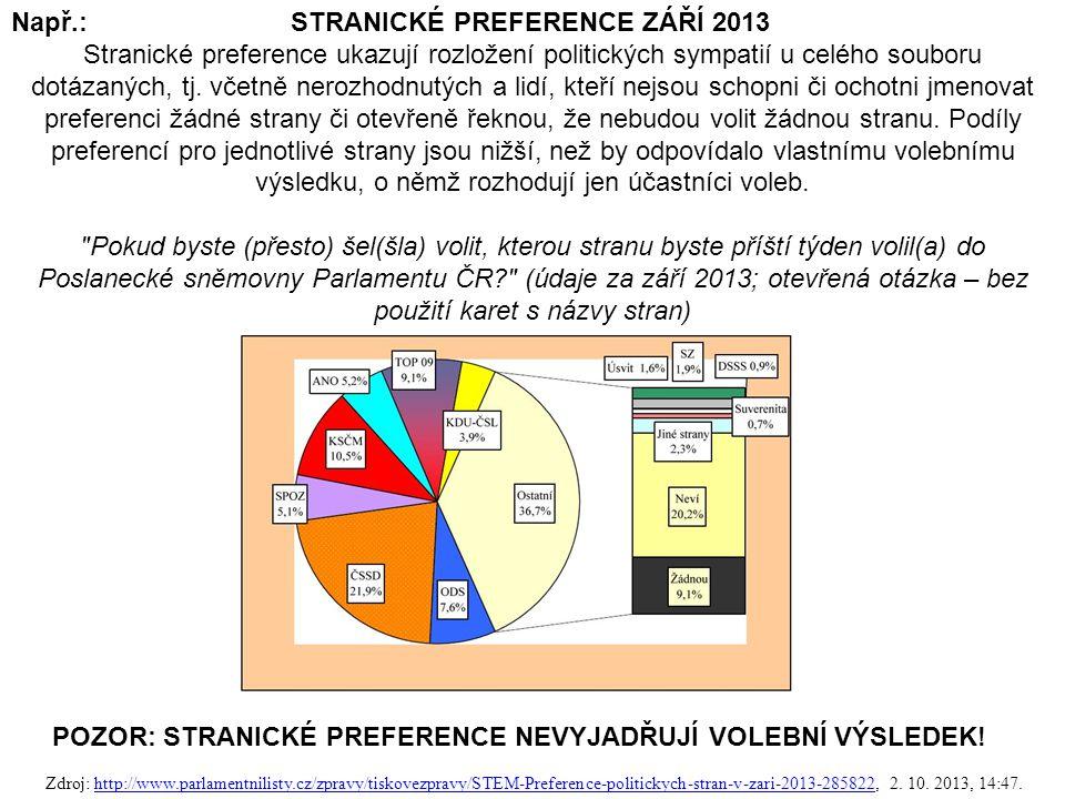65 Např.: STRANICKÉ PREFERENCE ZÁŘÍ 2013 Stranické preference ukazují rozložení politických sympatií u celého souboru dotázaných, tj.