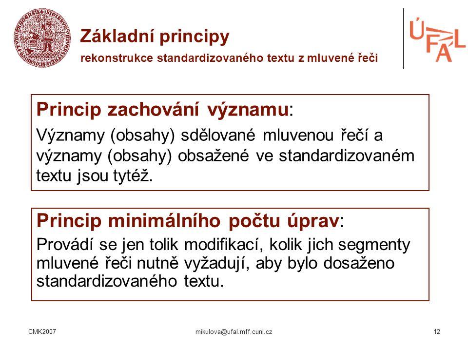 CMK2007mikulova@ufal.mff.cuni.cz12 Základní principy rekonstrukce standardizovaného textu z mluvené řeči Princip zachování významu: Významy (obsahy) s