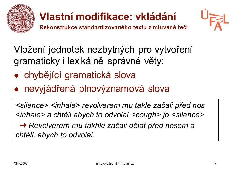 CMK2007mikulova@ufal.mff.cuni.cz17 Vložení jednotek nezbytných pro vytvoření gramaticky i lexikálně správné věty: chybějící gramatická slova nevyjádře