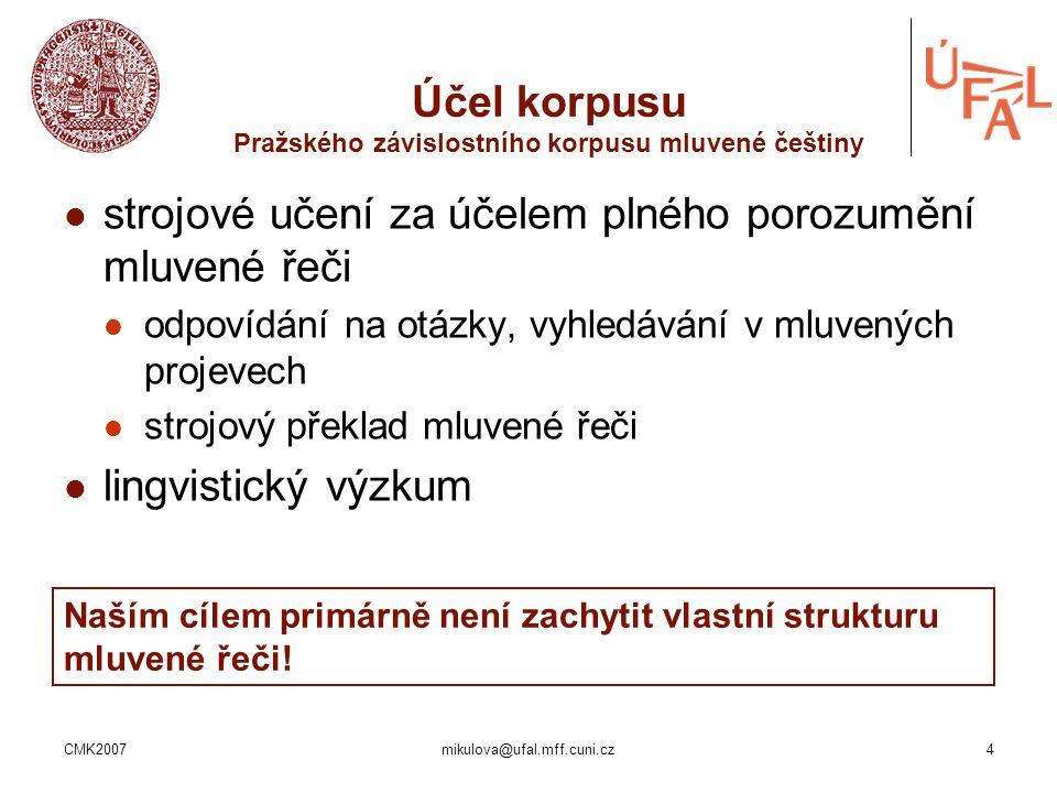 CMK2007mikulova@ufal.mff.cuni.cz4 Účel korpusu Pražského závislostního korpusu mluvené češtiny strojové učení za účelem plného porozumění mluvené řeči
