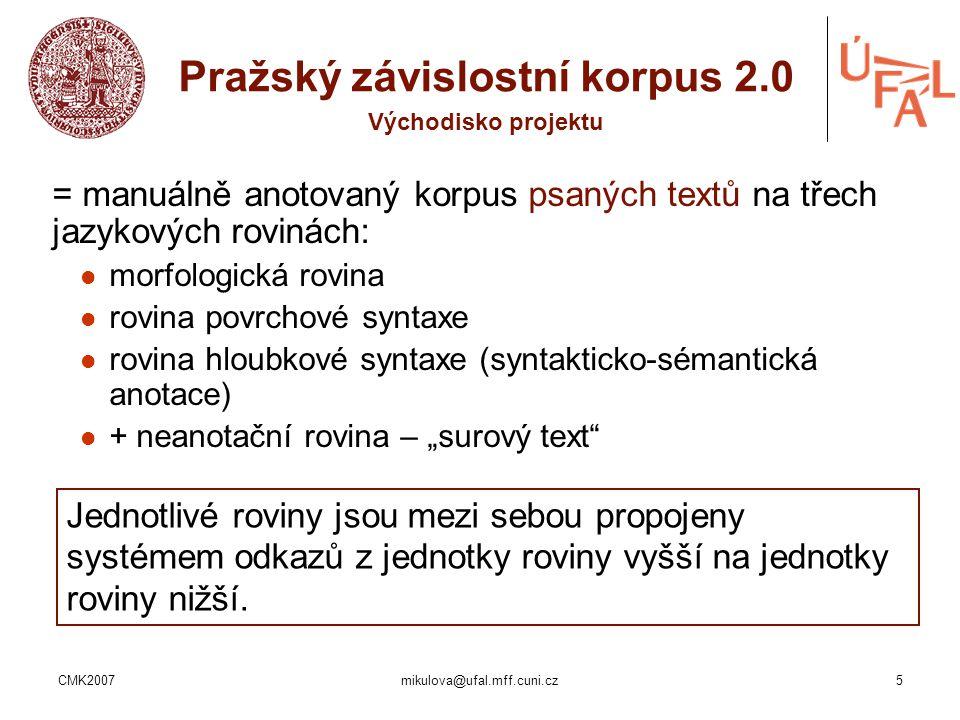 CMK2007mikulova@ufal.mff.cuni.cz5 = manuálně anotovaný korpus psaných textů na třech jazykových rovinách: morfologická rovina rovina povrchové syntaxe
