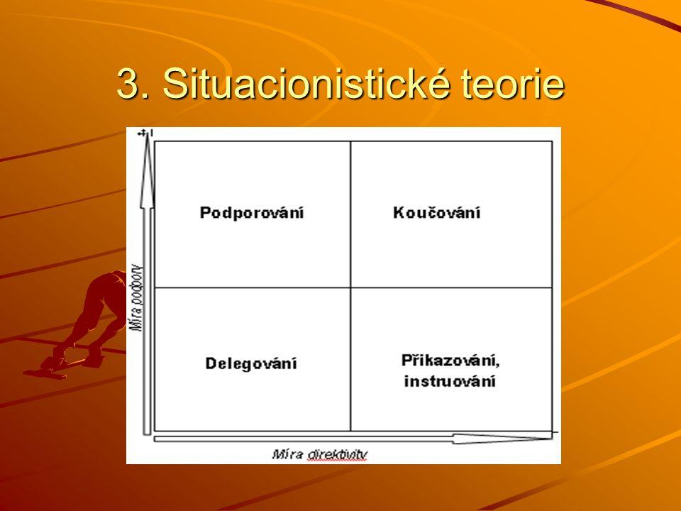 3. Situacionistické teorie Hersey a Blanchard (1977) existují 4 základní vůdcovské styly –nařizování (vysoce nařizovací + málo podporující) –koučování