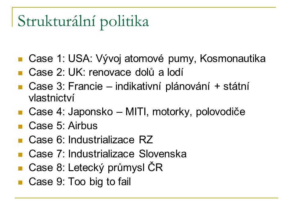 Strukturální politika Case 1: USA: Vývoj atomové pumy, Kosmonautika Case 2: UK: renovace dolů a lodí Case 3: Francie – indikativní plánování + státní