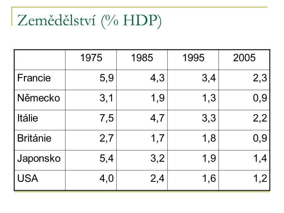 Zemědělství (% HDP) 1975198519952005 Francie5,94,33,42,3 Německo3,11,91,30,9 Itálie7,54,73,32,2 Británie2,71,71,80,9 Japonsko5,43,21,91,4 USA4,02,41,6