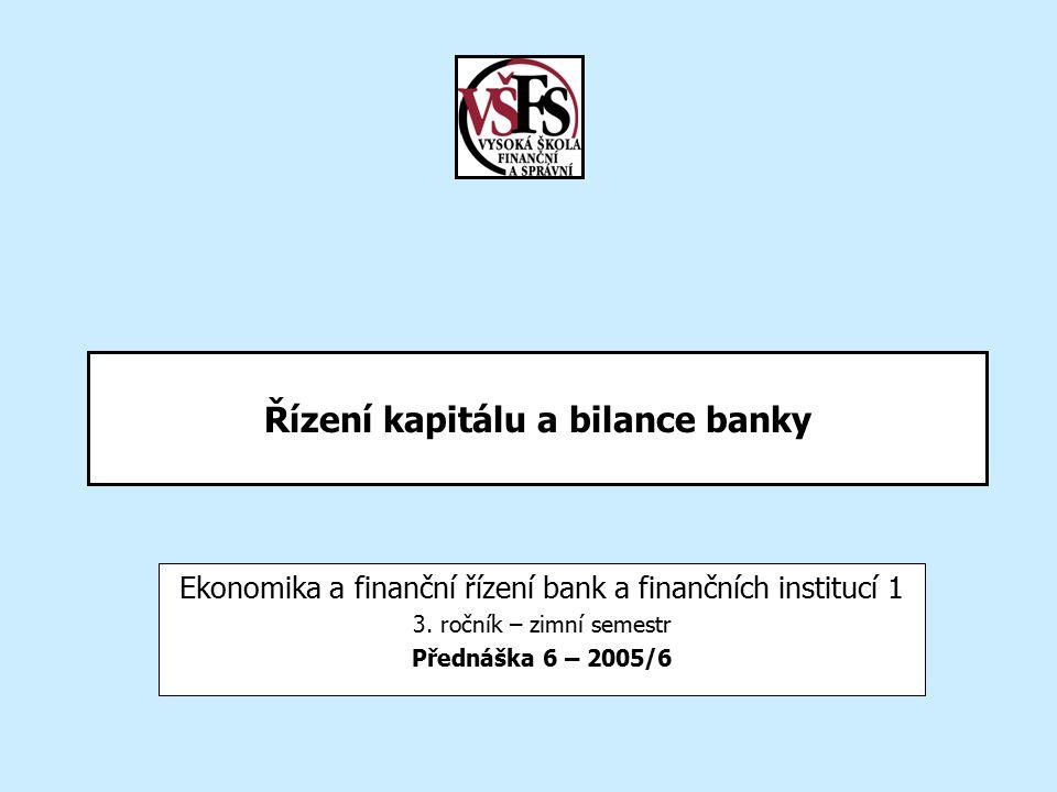 20056/7EBF 1/6 - Řízení kapitálu a bilance banky2 Obsah –Opakování Podnikatelský model universální banky Atributy procesu Ukazatele výkonnosti - zákazník –Vytváření hodnoty Relativnost vytváření hodnoty Koncept měření tvorby hodnoty –Podstata finančního řízení bank –Příjmové řetězce –Kapitál banky Typy kapitálu Model kapitálových fondů –Bilance aktiv a pasiv –Výkaz zisku a ztrát –Hodnocení –Řízení aktiv a pasiv –Nový přístup k hodnocení výkonnosti bank –Tradiční ukazatele finanční výkonnosti –Dekompozice zisku –Vybrané pojmy –Shrnutí