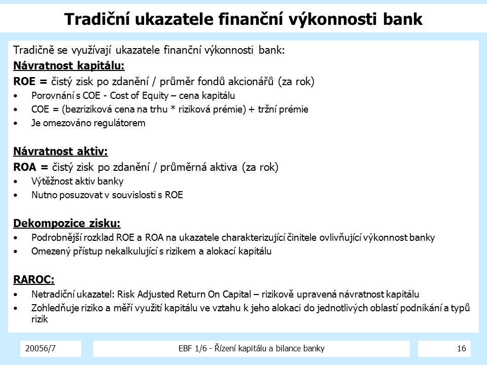 20056/7EBF 1/6 - Řízení kapitálu a bilance banky17 Dekompozice zisku (1) Dekompozice zisku se provádí podle modelu (příklad): Kapitálový multiplikátor ROE ROA Celková úroková marže Celková neúroková marže Celková ostatní marže Daňová marže Čistá úroková marže Ukazatel výnosových aktiv Čisté úrokové rozpětí Zisk z čisté úrokové pozice Prům.sazba úročených aktiv Prům.sazba úročených pasiv Čistá úrok.