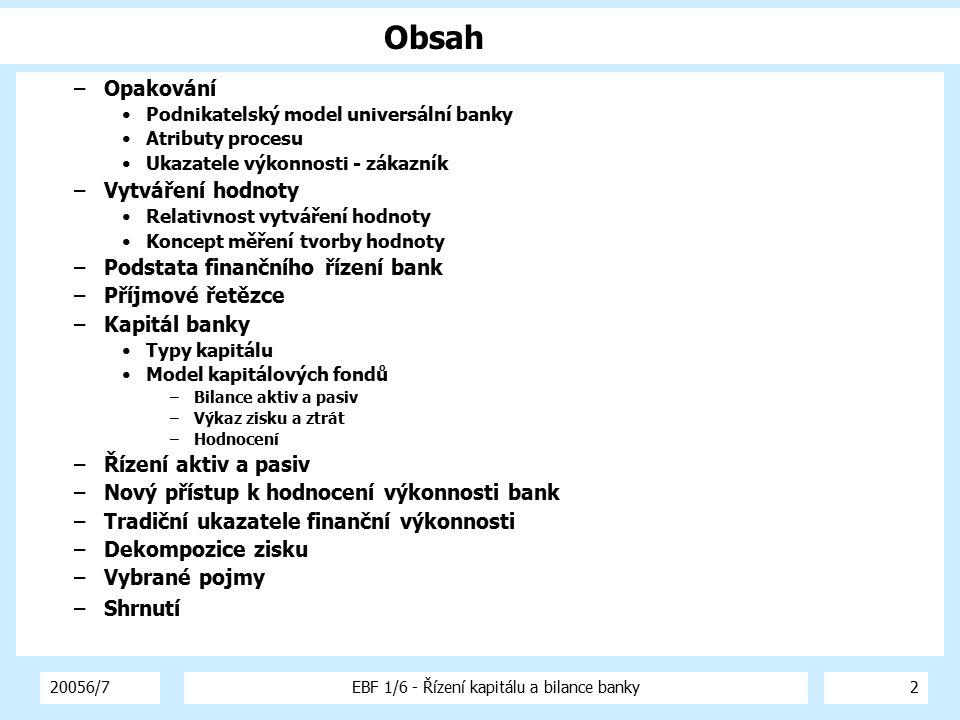 20056/7EBF 1/6 - Řízení kapitálu a bilance banky2 Obsah –Opakování Podnikatelský model universální banky Atributy procesu Ukazatele výkonnosti - zákaz