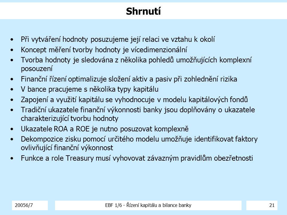20056/7EBF 1/6 - Řízení kapitálu a bilance banky21 Shrnutí Při vytváření hodnoty posuzujeme její relaci ve vztahu k okolí Koncept měření tvorby hodnot