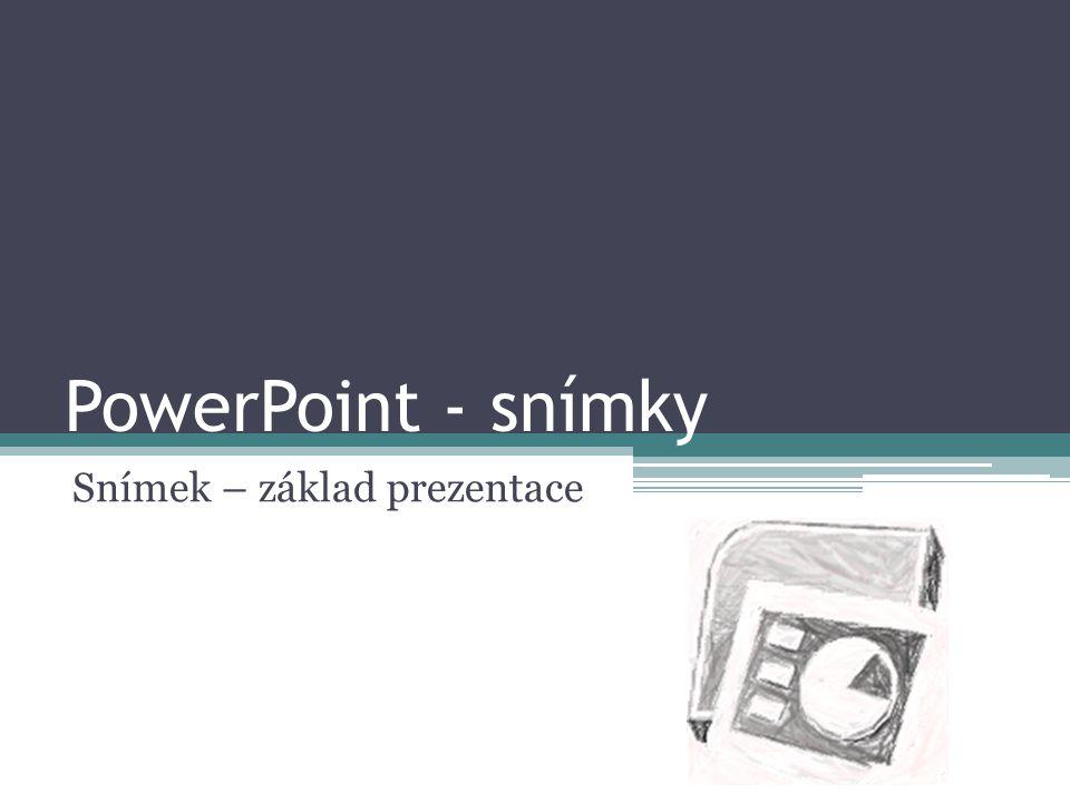 PowerPoint - snímky Snímek – základ prezentace