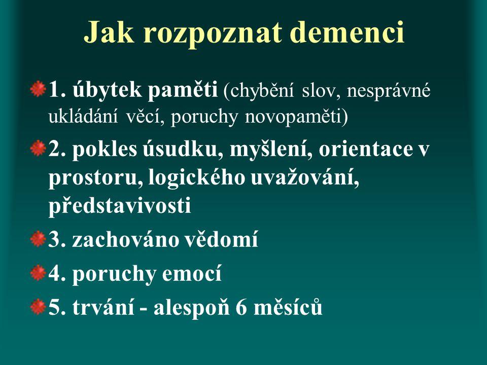 Jak rozpoznat demenci 1. úbytek paměti (chybění slov, nesprávné ukládání věcí, poruchy novopaměti) 2. pokles úsudku, myšlení, orientace v prostoru, lo