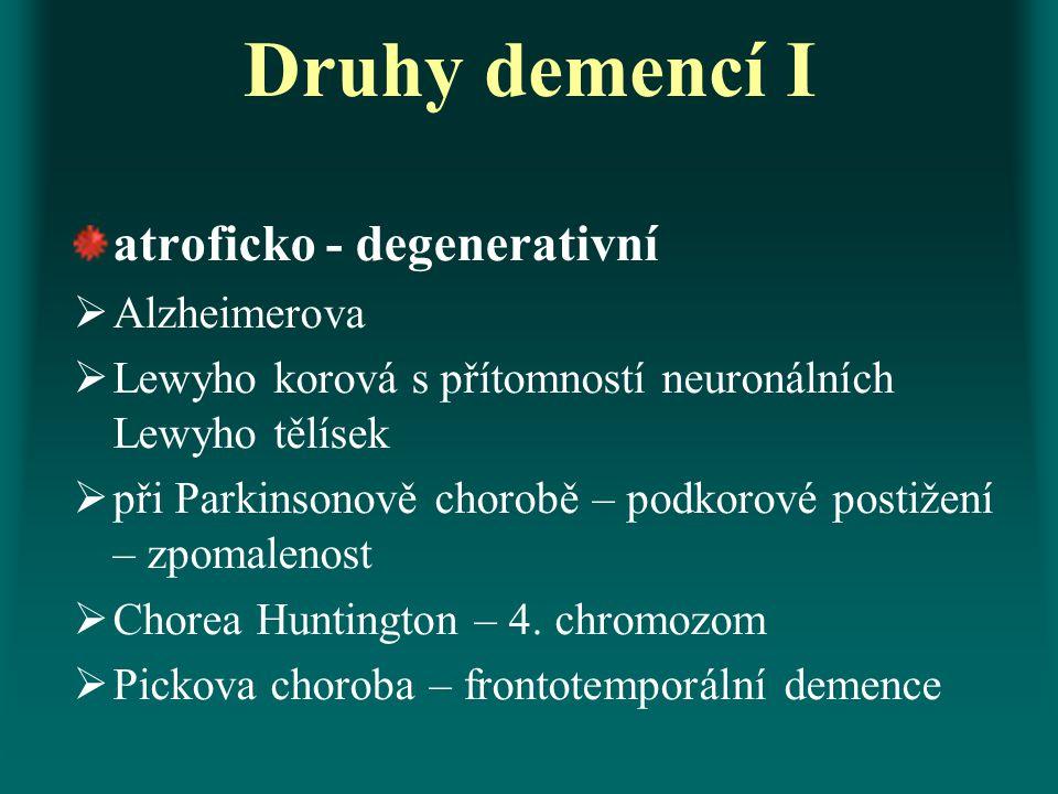 Druhy demencí I atroficko - degenerativní  Alzheimerova  Lewyho korová s přítomností neuronálních Lewyho tělísek  při Parkinsonově chorobě – podkor