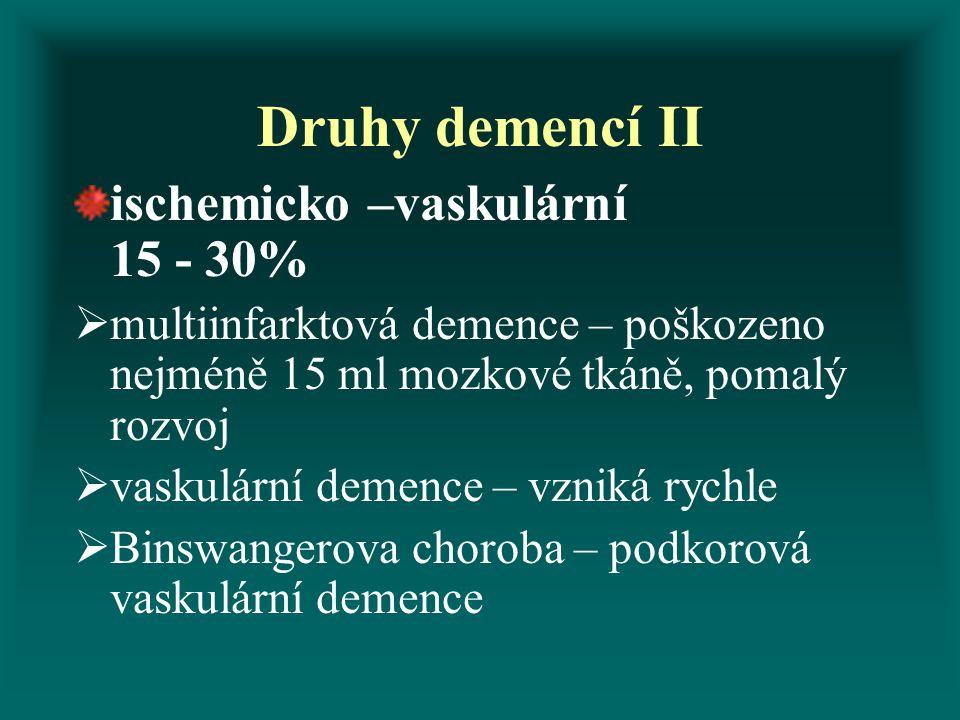 Druhy demencí II ischemicko –vaskulární 15 - 30%  multiinfarktová demence – poškozeno nejméně 15 ml mozkové tkáně, pomalý rozvoj  vaskulární demence