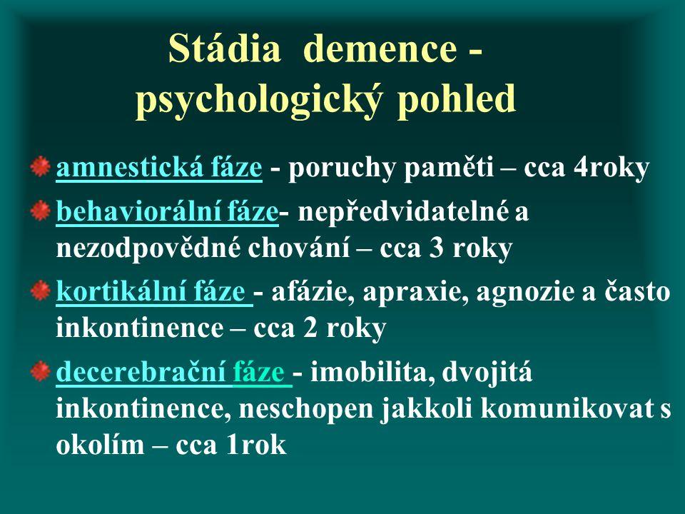 Stádia demence - psychologický pohled amnestická fáze - poruchy paměti – cca 4roky behaviorální fáze- nepředvidatelné a nezodpovědné chování – cca 3 r