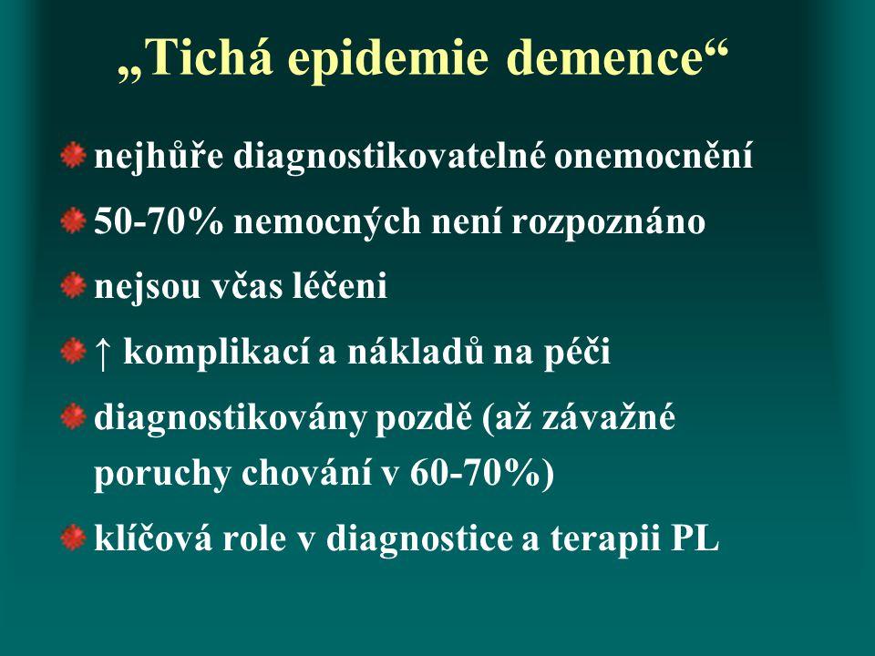 """""""Tichá epidemie demence"""" nejhůře diagnostikovatelné onemocnění 50-70% nemocných není rozpoznáno nejsou včas léčeni ↑ komplikací a nákladů na péči diag"""