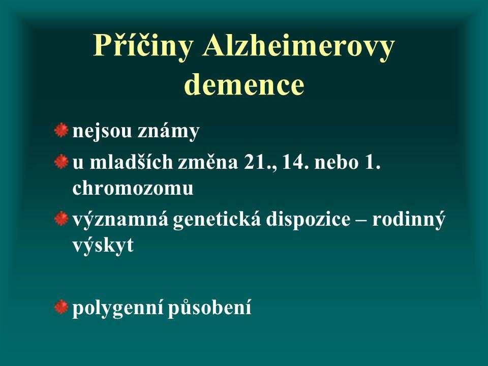 Příčiny Alzheimerovy demence nejsou známy u mladších změna 21., 14. nebo 1. chromozomu významná genetická dispozice – rodinný výskyt polygenní působen