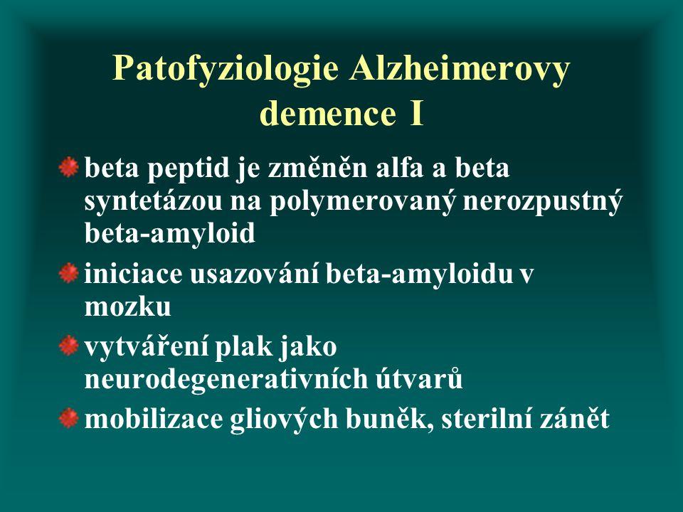 Patofyziologie Alzheimerovy demence I beta peptid je změněn alfa a beta syntetázou na polymerovaný nerozpustný beta-amyloid iniciace usazování beta-am