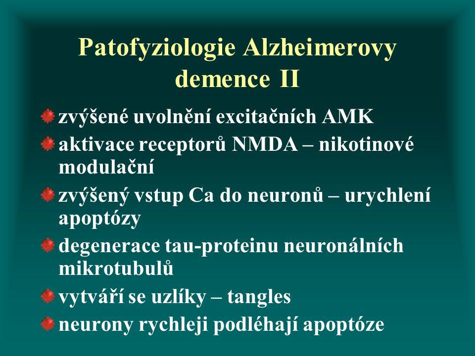 Patofyziologie Alzheimerovy demence II zvýšené uvolnění excitačních AMK aktivace receptorů NMDA – nikotinové modulační zvýšený vstup Ca do neuronů – u