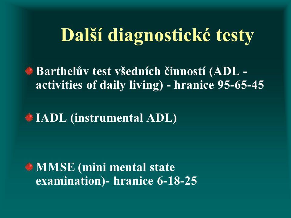 Další diagnostické testy Barthelův test všedních činností (ADL - activities of daily living) - hranice 95-65-45 IADL (instrumental ADL) MMSE (mini men