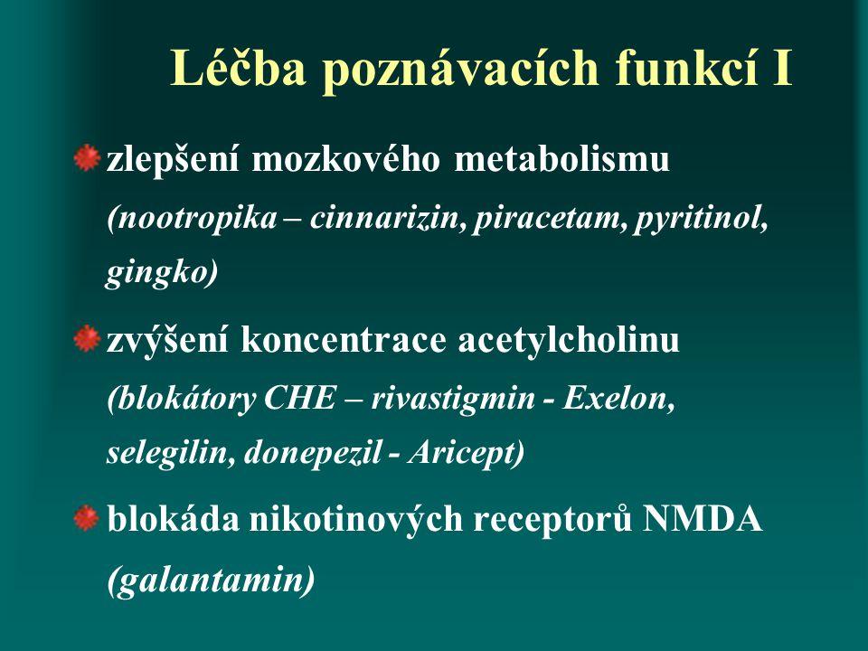 Léčba poznávacích funkcí I zlepšení mozkového metabolismu (nootropika – cinnarizin, piracetam, pyritinol, gingko) zvýšení koncentrace acetylcholinu (b