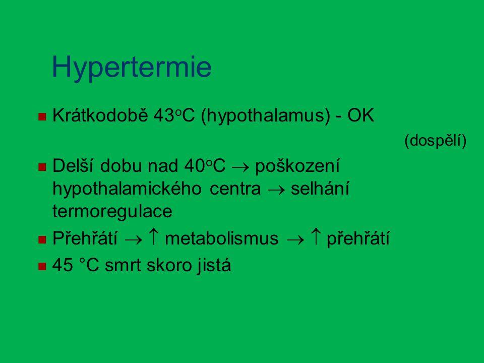 Hypertermie Krátkodobě 43 o C (hypothalamus) - OK (dospělí) Delší dobu nad 40 o C  poškození hypothalamického centra  selhání termoregulace Přehřátí   metabolismus   přehřátí 45 °C smrt skoro jistá
