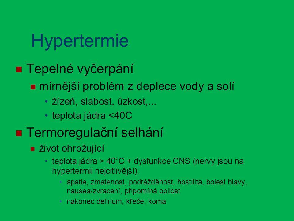 Hypertermie Tepelné vyčerpání mírnější problém z deplece vody a solí žízeň, slabost, úzkost,...