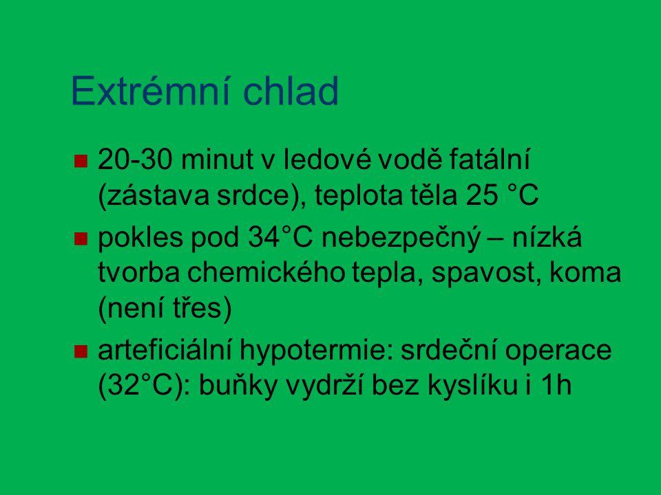 Extrémní chlad 20-30 minut v ledové vodě fatální (zástava srdce), teplota těla 25 °C pokles pod 34°C nebezpečný – nízká tvorba chemického tepla, spavost, koma (není třes) arteficiální hypotermie: srdeční operace (32°C): buňky vydrží bez kyslíku i 1h