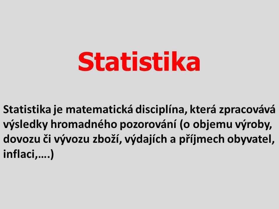 Statistika Statistika je matematická disciplína, která zpracovává výsledky hromadného pozorování (o objemu výroby, dovozu či vývozu zboží, výdajích a příjmech obyvatel, inflaci,….)