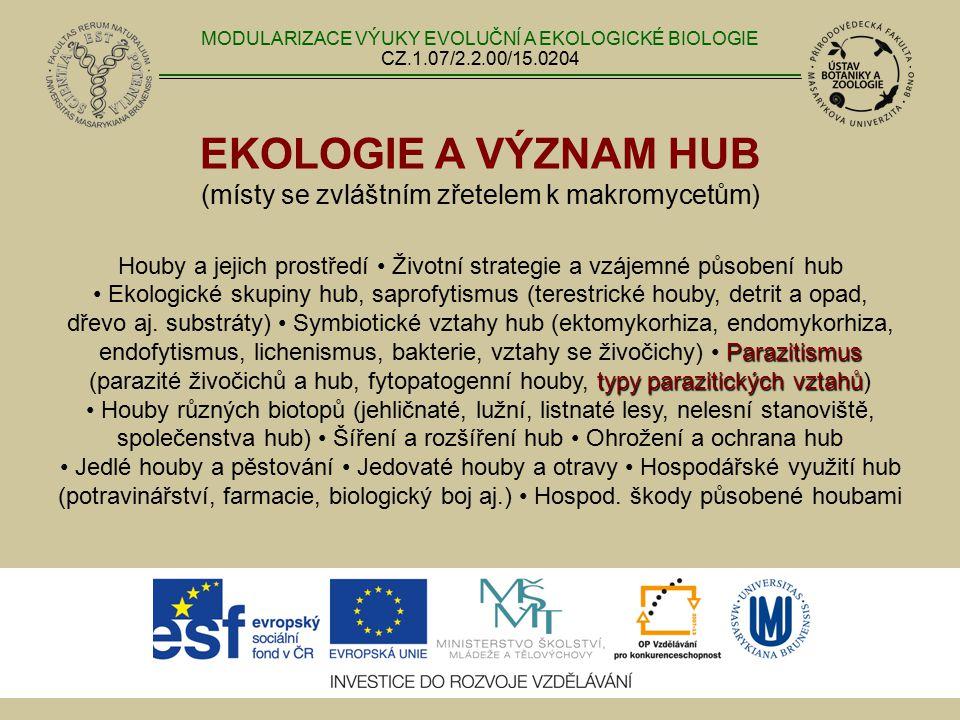 EKOLOGIE A VÝZNAM HUB (místy se zvláštním zřetelem k makromycetům) Parazitismus typy parazitických vztahů Houby a jejich prostředí Životní strategie a