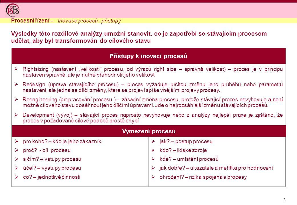 9  Pro popis obsahové stránky procesu se používají tzv.