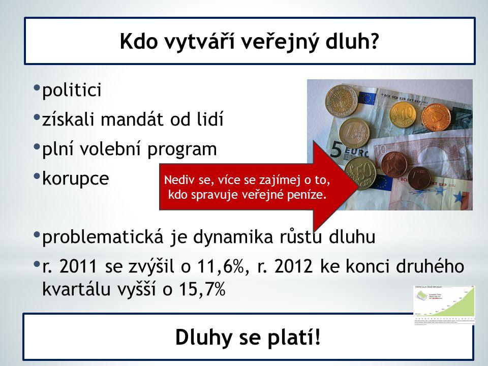politici získali mandát od lidí plní volební program korupce problematická je dynamika růstu dluhu r. 2011 se zvýšil o 11,6%, r. 2012 ke konci druhého