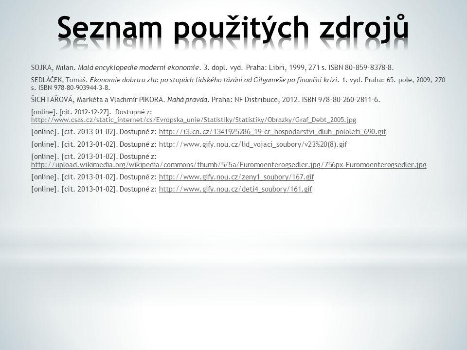 SOJKA, Milan. Malá encyklopedie moderní ekonomie. 3. dopl. vyd. Praha: Libri, 1999, 271 s. ISBN 80-859-8378-8. SEDLÁČEK, Tomáš. Ekonomie dobra a zla: