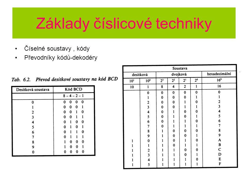 Základy číslicové techniky Číselné soustavy, kódy Převodníky kódů-dekodéry
