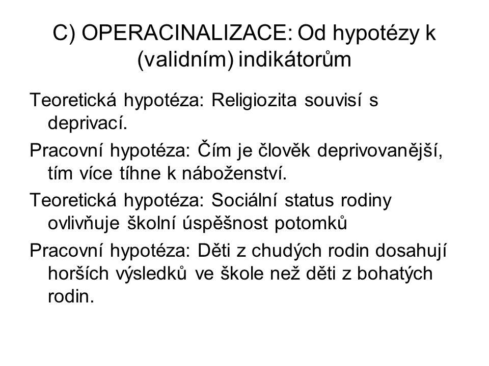 C) OPERACINALIZACE: Od hypotézy k (validním) indikátorům Teoretická hypotéza: Religiozita souvisí s deprivací.