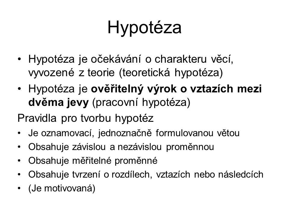 Hypotéza Hypotéza je očekávání o charakteru věcí, vyvozené z teorie (teoretická hypotéza) Hypotéza je ověřitelný výrok o vztazích mezi dvěma jevy (pracovní hypotéza) Pravidla pro tvorbu hypotéz Je oznamovací, jednoznačně formulovanou větou Obsahuje závislou a nezávislou proměnnou Obsahuje měřitelné proměnné Obsahuje tvrzení o rozdílech, vztazích nebo následcích (Je motivovaná)