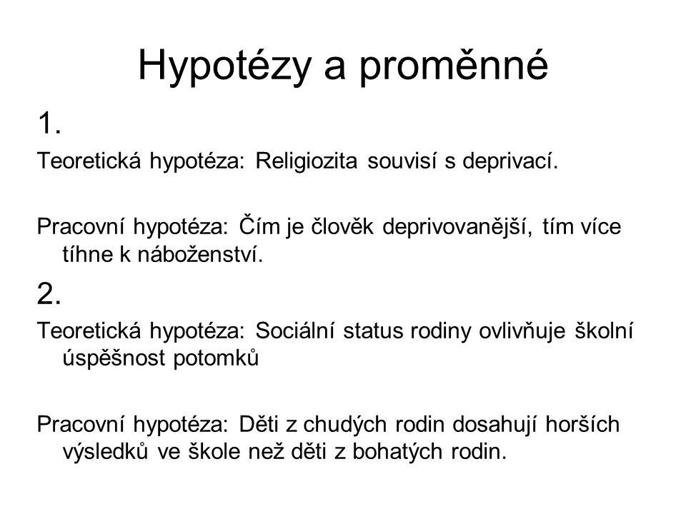 Hypotézy a proměnné 1.Teoretická hypotéza: Religiozita souvisí s deprivací.