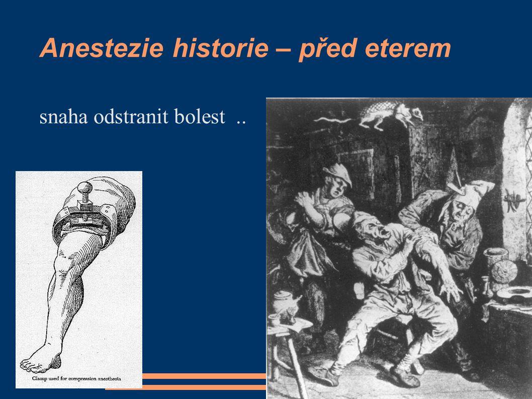 Anestezie historie – před eterem snaha odstranit bolest..