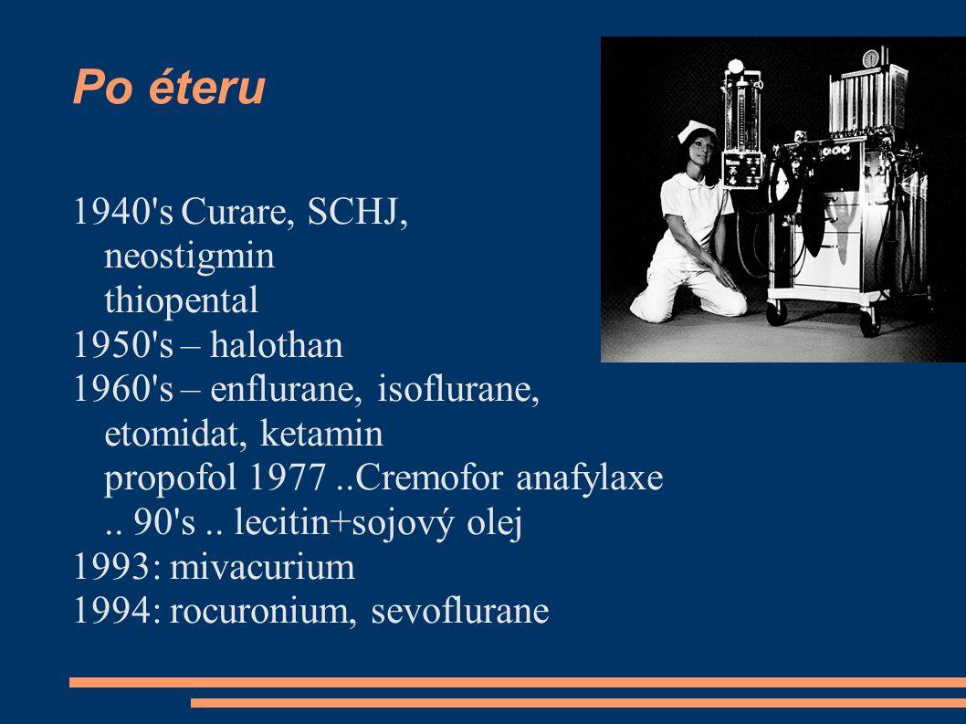 Po éteru 1940 s Curare, SCHJ, neostigmin thiopental 1950 s – halothan 1960 s – enflurane, isoflurane, etomidat, ketamin propofol 1977..Cremofor anafylaxe..