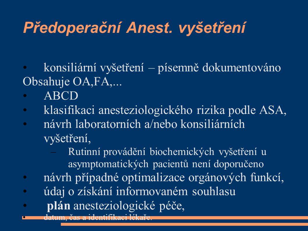 Předoperační Anest. vyšetření konsiliární vyšetření – písemně dokumentováno Obsahuje OA,FA,...