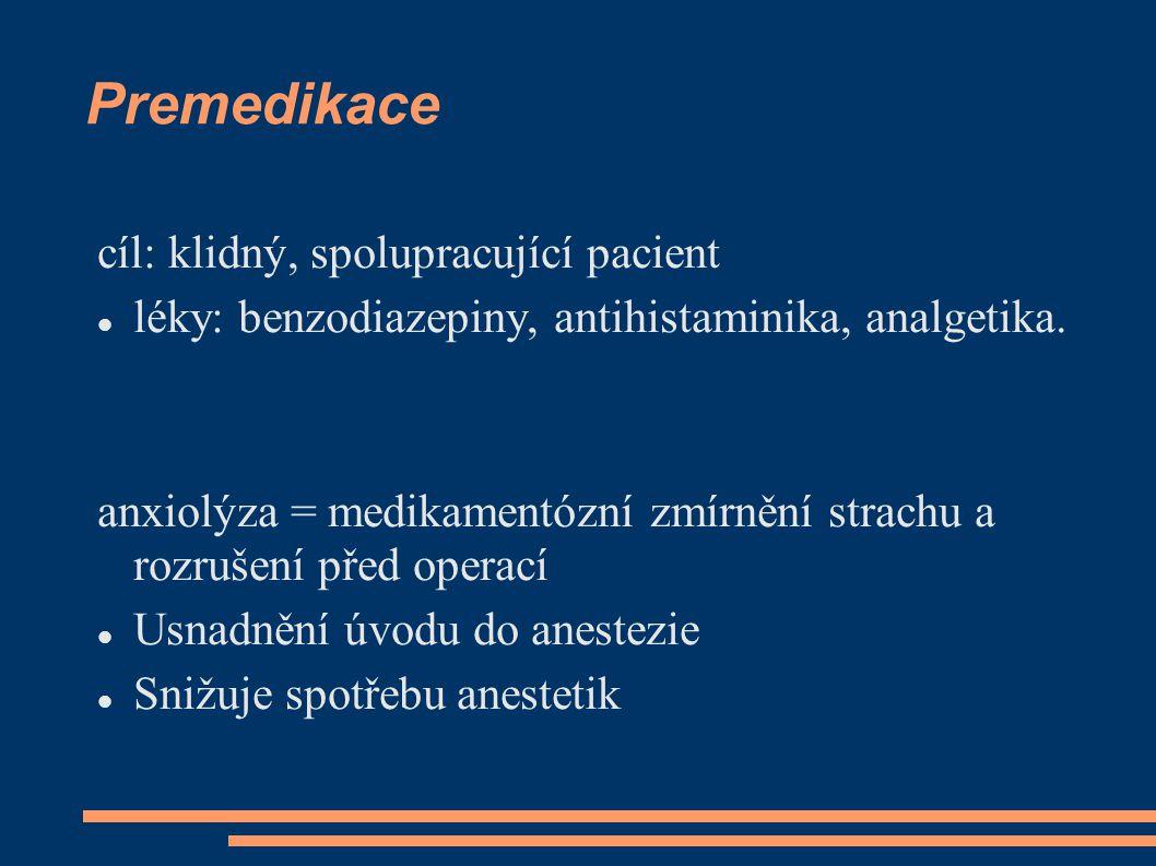 Premedikace cíl: klidný, spolupracující pacient léky: benzodiazepiny, antihistaminika, analgetika.