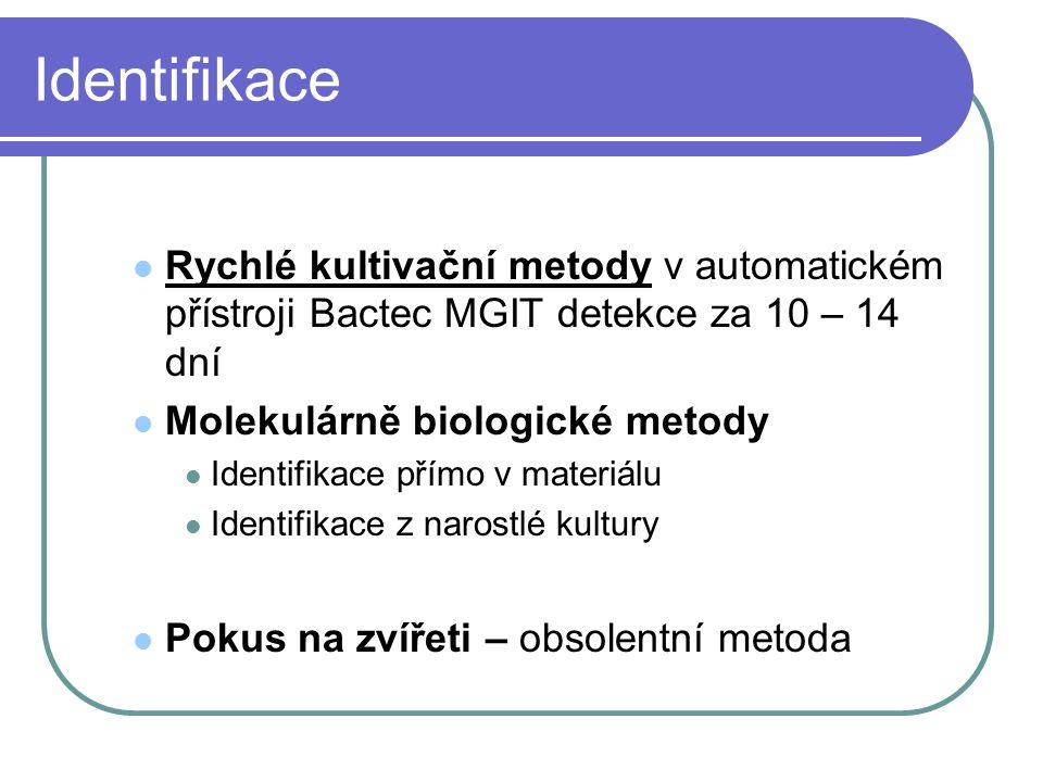 Identifikace Rychlé kultivační metody v automatickém přístroji Bactec MGIT detekce za 10 – 14 dní Molekulárně biologické metody Identifikace přímo v m