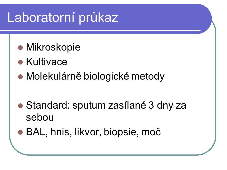 Laboratorní průkaz Mikroskopie Kultivace Molekulárně biologické metody Standard: sputum zasílané 3 dny za sebou BAL, hnis, likvor, biopsie, moč